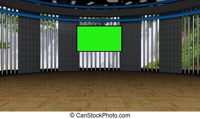 News TV Studio Set- 134 - News TV Studio Set 134 - Virtual...
