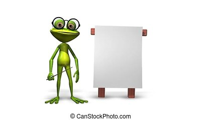 Frog with a pointer - Animation green frog with a pointer...