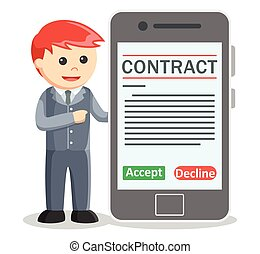 Business man showing contract digit