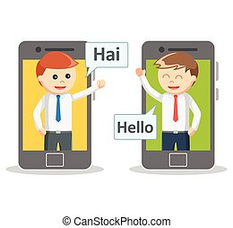 Business man video calling from smartphone