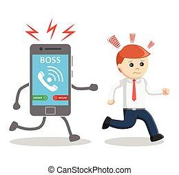 Business man run away from his boss phone call