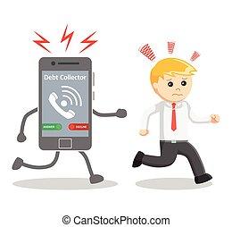 Business man run away from debt collector phone call