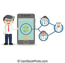 Business man social media community