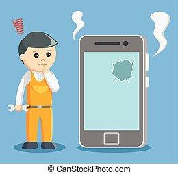 technician with broken smartphone