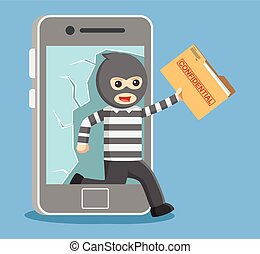 hacker stealing personal data from smartphone