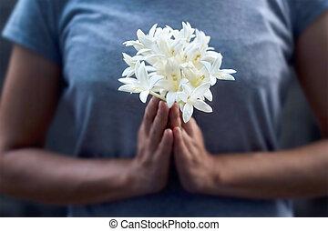 mujer, Oscuridad, flor, Plano de fondo, Manos, blanco,...