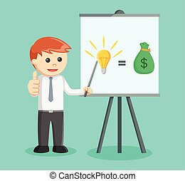businessman show ideas and money by