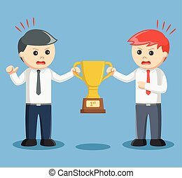 two businessmen scrambling trophies