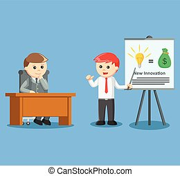 businessman giving presentation abo