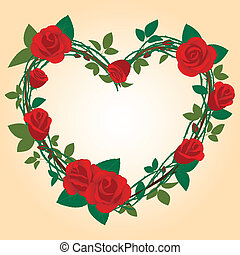 Rose Frame in the shape of heart