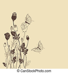 Rose flower with butterfly card - Rose flower with butterfly...