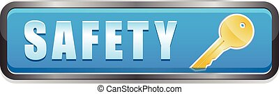 Safety button with key icon