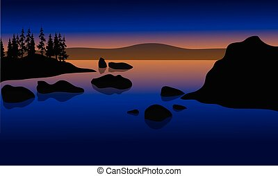 At Sunset in beach with rock silhouette - At Sunset in beach...