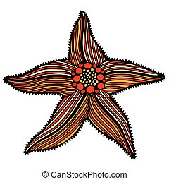 sketch illustration of starfish - Hand drawn, sketch...