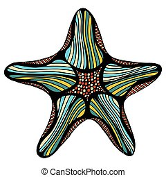 sketch illustration of starfish - Hand drawn, sketch...