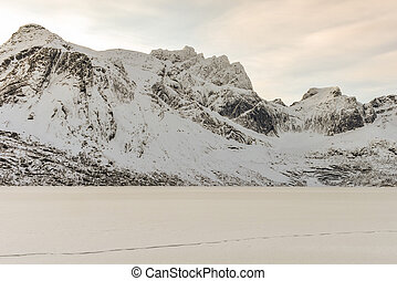 Storvatnet, Lofoten Islands, Norway - Snowy Lake Storvatnet...