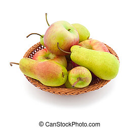 Apples and  pears  appetizing autumn fruits