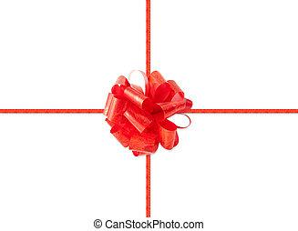 regalo, paquete, rojo, arco, aislado, navidad, cinta,...
