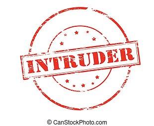 Intruder - Rubber stamp with word intruder inside, vector...