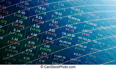 stock price feed on office glass background