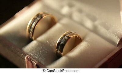 Luxury golden wedding rings in the red box. Wedding jewelry concept