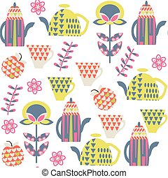 Tea seamless pattern and seamless pattern in swatch menu,...
