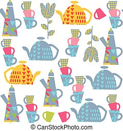 Elegance seamless pattern with kettle and cup and seamless...