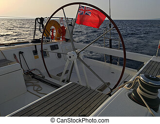 English sailing yacht flag Red Ensign United Kingdom civil...