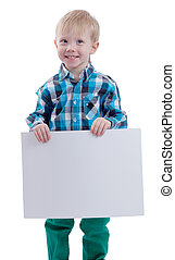 Cute little boy with blank poster on white background
