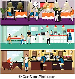 Vector set of banners with restaurant interiors. People...