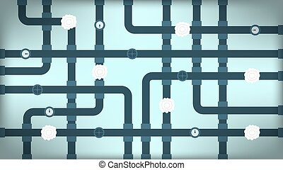 Cross pipeline on turquoise background - Wallpaper of cross...