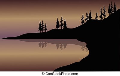 Landscape lake of silhouette