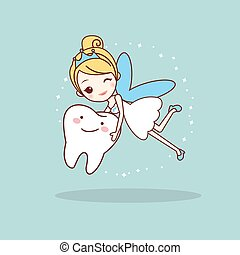 cartoon tooth with tooth fairy, great for dental care...