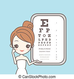 girl with ophthamology chart