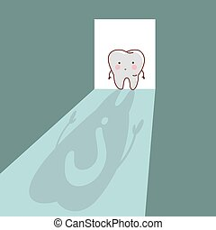 cartoon  tooth with question mark