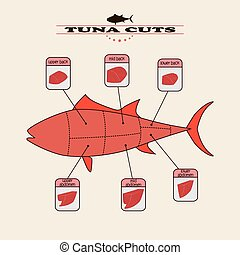 tuna cuts - info graphic of the tuna cuts on light...