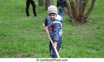 The little boy cleans leaves rake. - Boy diligently collects...