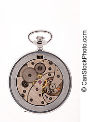 The interior of a pocket watch.