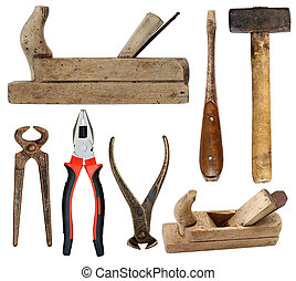 Hand tools on white background - Various old and used hand...