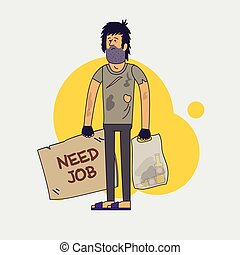 Dirty homeless in need of help and work. Shaggy unemployed...