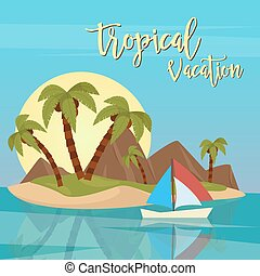 Beach Vacation. Tropical Paradise. Exotic Island  with Palm Trees. Vector illustration