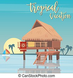 Beach Vacation. Tropical Paradise. Exotic Island  Bungalows. Vector illustration