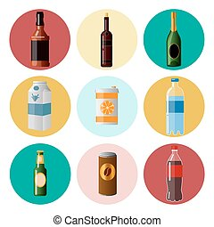 Different Beverages. Drinks in Ware. Icons Set. Vector illustration