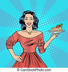 Girl Holding a Cake. Housewife with Cheesecake. Pop Art. Happy Woman. Vector illustration