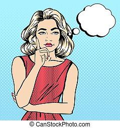 Woman Thinking. Pretty Girl. Woman Doubts. Woman Looking Up. Pop Art Banner. Vector illustration