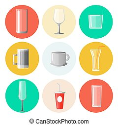 Set of Different Glasses and Cups. Vector illustration