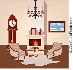 Living Room Interior. Room Interior with Vintage Chandelier and Fireplace. Home Interior. Vector illustration
