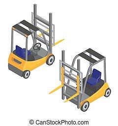 Forklift Transport. Isometric Transportation. Cargo Industry. Vector illustration