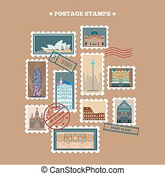 Travel Postage Stamps. Famous Buildings. Time to Travel....