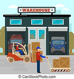 Warehouse Building. Cargo Industry. Worker on Forklift....